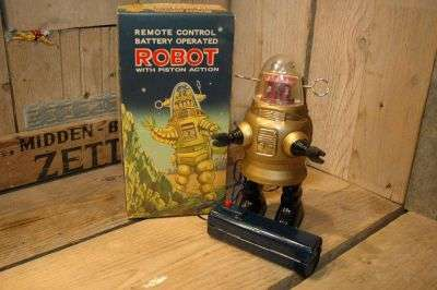 Nomura - Golden Pug Robby Robot with Black legs and straight antenna